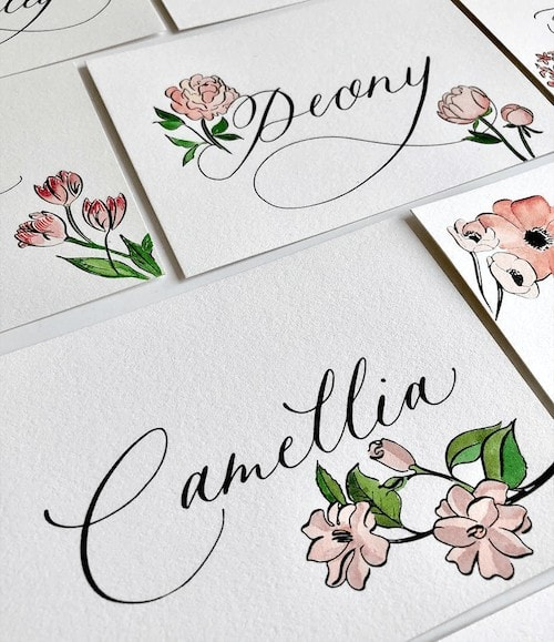 ILLUSTRATED TABLE NAMES, NET A PORTER WEDDING