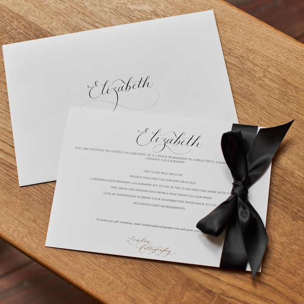 London Calligraphy Gift Voucher With Ribbon