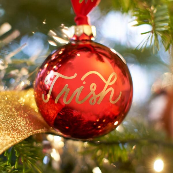 London Calligraphy Bauble Christmas Red